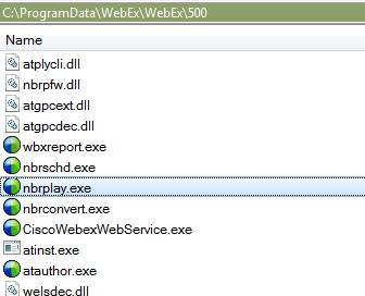 cisco webex player installation path location