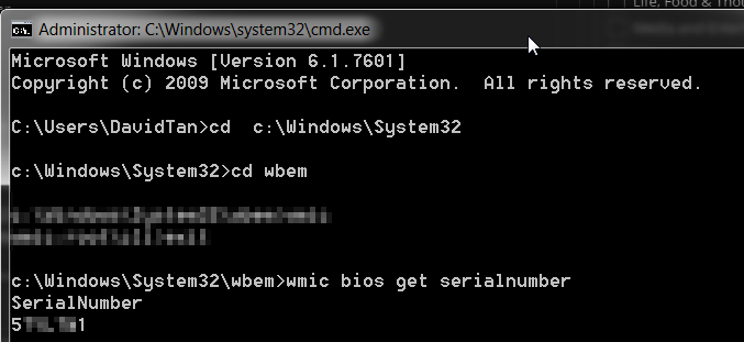 wmic bios get serialnumber dell service tag